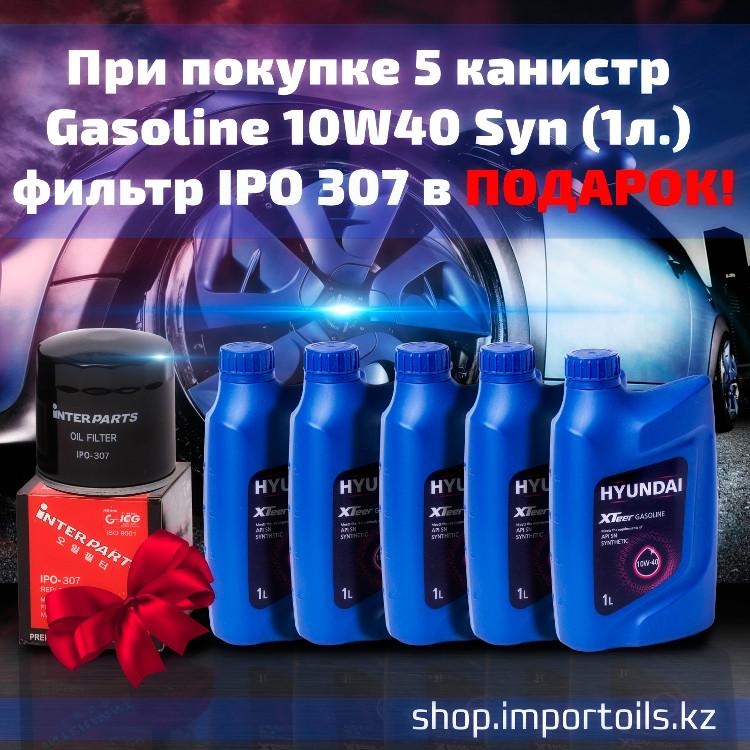 При покупке 5 канистр Gasoline 10W40Syn (1л) фильтр IPO 307 в подарок.